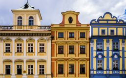 Row of colorful historical buildings, Prague, Czech Republic. Row of colorful historical buildings in Prague old town square, Czech Republic Stock Image