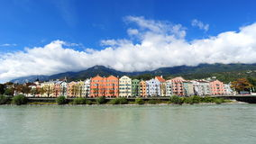 Row of colorful houses along the Inn River in Innsbruck Stock Photography