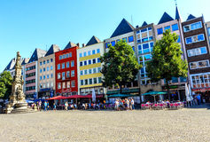 A row of colorful houses at the Alter Markt square in Cologne, Germany royalty free stock image