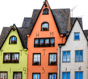 A row of colorful houses on the banks of the Rhine in Cologne, Germany Royalty Free Stock Photo