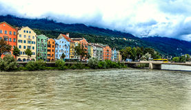 A row of colorful houses in Innsbruck, Austria Stock Photos
