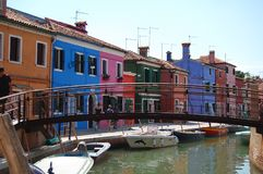 Row of colorful houses on the island of Burano Royalty Free Stock Photo
