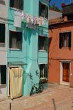 Row of colorful houses on the island of Burano Stock Images