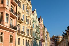 Row of colorful houses in Prague in morning light on sunny day, Czech republic royalty free stock photo
