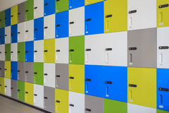 Row of colorful lockers and security password code on door for s Stock Photography