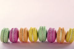 Row of colorful macarons Royalty Free Stock Photos
