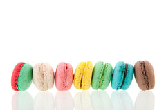 Row colorful macaroons Royalty Free Stock Images