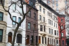 Row of old buildings in the Upper West Side, New York City Royalty Free Stock Images