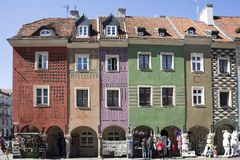 Row of colorful old houses in the historical town square. Poznan, Poland, April 30, 2018: Old Market sqaure in Poznan. Poland. Row of colorful old houses in the Stock Photo