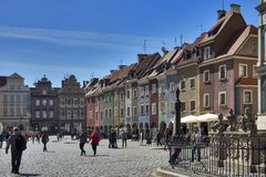 Row of colorful old houses in the historical town square. Poznan, Poland, April 30, 2018: Old Market sqaure in Poznan. Poland. Row of colorful old houses in the Stock Image