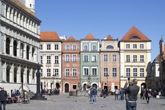 Row of colorful old houses in the historical town square. Poznan, Poland, April 30, 2018: Old Market sqaure in Poznan. Poland. Row of colorful old houses in the Royalty Free Stock Photography