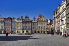 Row of colorful old houses in the historical town square. Poznan, Poland, April 30, 2018: Old Market sqaure in Poznan. Poland. Row of colorful old houses in the Royalty Free Stock Photo