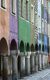 Row of colorful old houses; vertical Royalty Free Stock Photos
