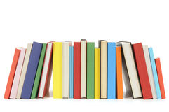 School books in a row, horizontal, isolated on white background. Row of colorful books isolated on a white background.  Space for copy Royalty Free Stock Image