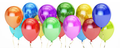 Row from colorful party balloons, 3D rendering Royalty Free Stock Image