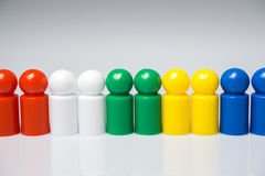 Row of colorful pawns for board games Royalty Free Stock Image