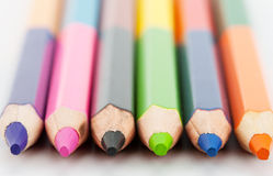 Row of colorful pencils Stock Photos