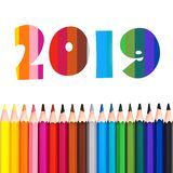 2019, row of colorful pencils isolated on white. Background royalty free illustration