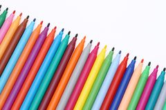 Row of colorful pens. For painting or drawing on white background Royalty Free Stock Photography