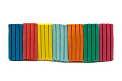 Row of colorful plasticine Stock Photo