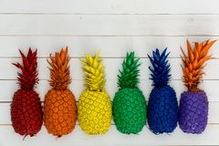 Row of colorful rainbow colored pineapples. Row of colorful vivid rainbow colored pineapples with their leaves forming a lower border on white wood with copy Royalty Free Stock Photography