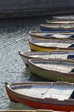 Row of boats anchored in the Bay of Naples, Campania, Italy Stock Images