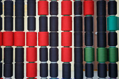 Row of colorful sewing thread Stock Photo