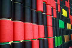 Row of colorful sewing thread Stock Photos