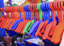 Row of Colorful Shoe hanger Royalty Free Stock Images