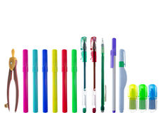 Row of colorful stationary Royalty Free Stock Photos