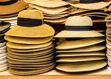 Row of hats on shelves. Row of colorful sunhats and Panama hats on shelves in a shop Stock Image