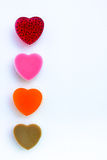Row of Colorful sweetness jelly shaped heart Stock Photography