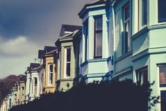 Row of Colorful Terrace Houses UK. Colorful Victorian Terrace Glasgow Scotland UK Stock Images
