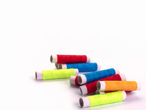 Row of colorful thread. royalty free stock photo