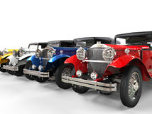 Row of colorful vintage cars Stock Photo