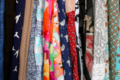 Row of Colorful Women`s Clothing Fabric Royalty Free Stock Photography