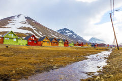 Row of colorful wooden houses at Longyearbyen in Svalbard Royalty Free Stock Photography