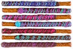 Row of colorfully decorated chocolate pretzel Stock Photography