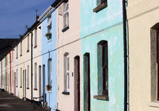 Row of colorwashed terraced houses in Fleetwood Royalty Free Stock Photos