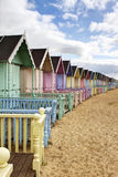 Row of colourful beach huts. In rural essex Royalty Free Stock Photos