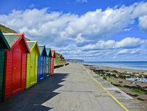 Row of colourful beach huts in Whitby, Stock Photography