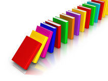 Row of Colourful Books falling like domino. 3D rendered row of colourful books Royalty Free Stock Photos