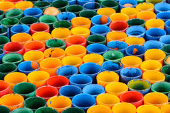 Row colourful glass. In green yellow blue red orange Royalty Free Stock Images