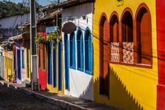 Row of Colourful houses, Lençóis, Chapada Diamantina, Bahia, Brazil. Colourful houses in bright sunlight, Lençóis, Chapada Diamantina, Bahia, Brazil royalty free stock photo