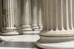 Row of columns in Athens. Some marble columns of academy of athens, Greecce Stock Image