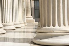 Row of columns in Athens. Some marble columns of academy of Athens, Greece royalty free stock photos