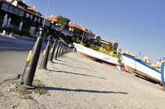 Row of columns on the embankment of Nessebar, Bulgaria Stock Images