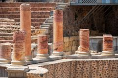Row of columns in Roman theater in Cartagena Royalty Free Stock Photo