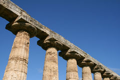Row of columns. Columns of the temple of hera at the ancient roman city of paestum, italy stock photos