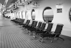 Row of comfortable chairs on a cruise ship Stock Photo